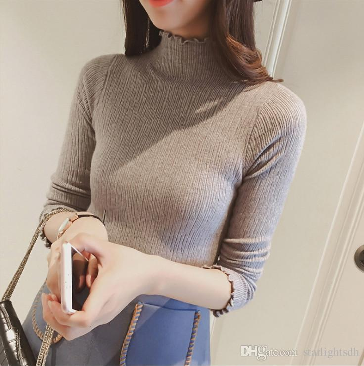 2018 Women'S Turtleneck Sweater Slim Tight Basic Lightweight ...