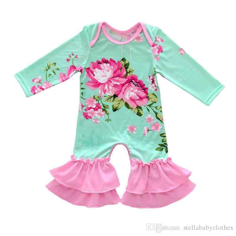 all'ingrosso Europa Bambini Tuta Primavera Autunno Neonate Boutique Tuta Fiore Stampa manica lunga Bambini Boutique Pigiama