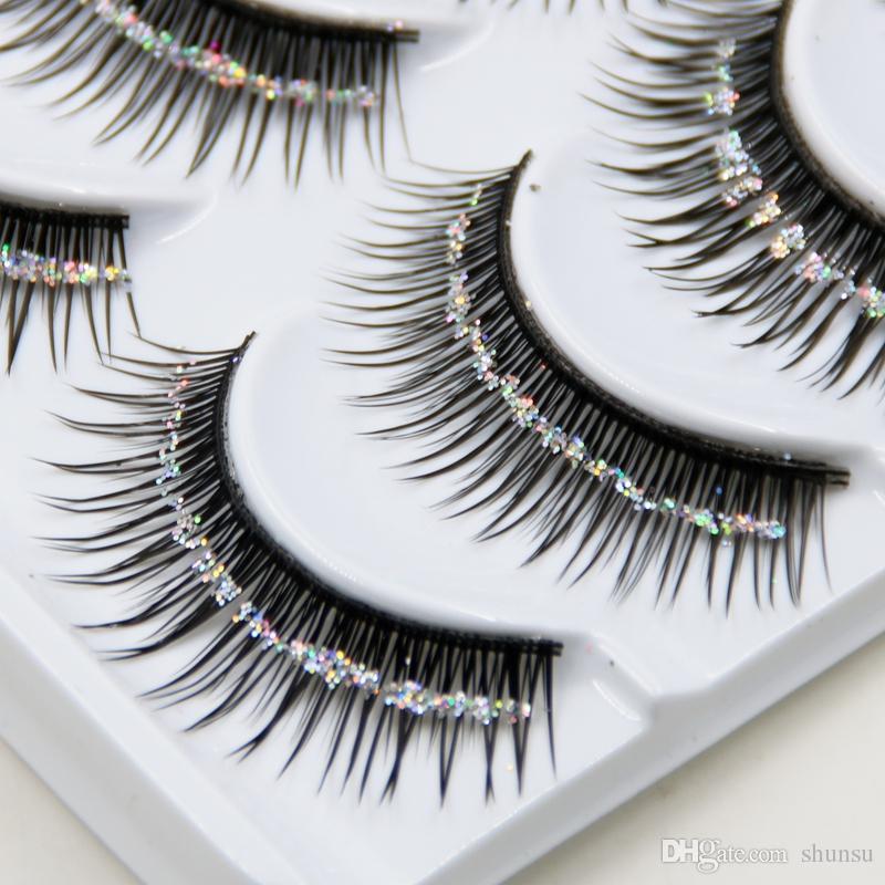 Hot Natural False Eyelashes Bare Silver Sequins Glitter Makeup
