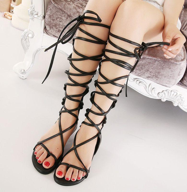 3d2bda2d8c0930 Wholesale Fashion Brand Women Gladiator Sandals Summer Casual Flip Flops  Sexy Cutout Lace Up Knee High Sandals Flat Shoes Woman Botas Wedges  Espadrilles ...