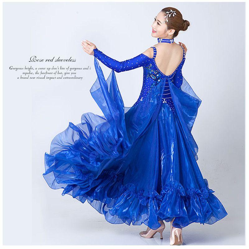 Modern Dance Kleid Frauen Diamant Stickerei Waltz Tango Foxtrot Quickstep Kostüm Wettbewerb Kleidung Standard Gesellschaftstanz rock3