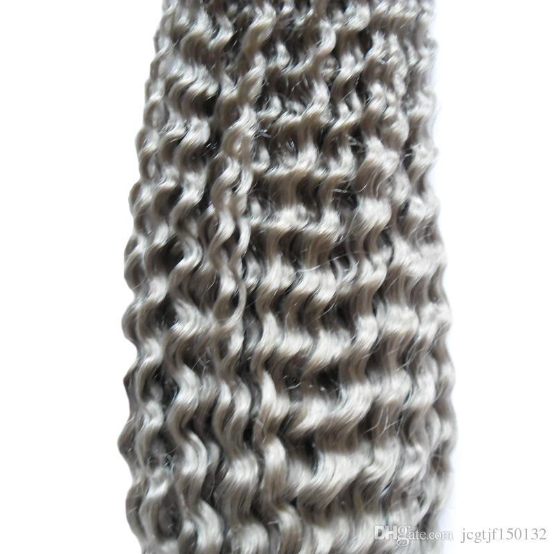 Grey hair weave brazilian kinky curly hari Silver Gray Human Hair Weave 100g brazilian kinky curly virgin gray hair extensions