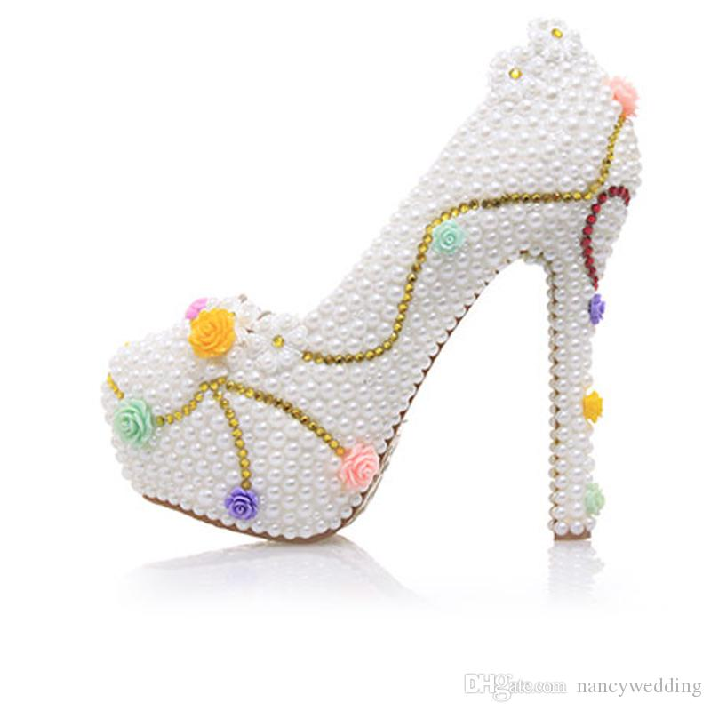 2017 Beautiful White Pearl Wedding Shoes with Cherry Bride Dress Shoes Formal Dress High Heels Cinderella Event Prom Pumps