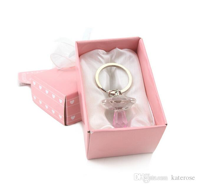 by UPS,DHL,Fedex Pink Crystal Pacifier Keychain Wedding Baby Shower Favors Birthday Party Giveaway Gift For Guest