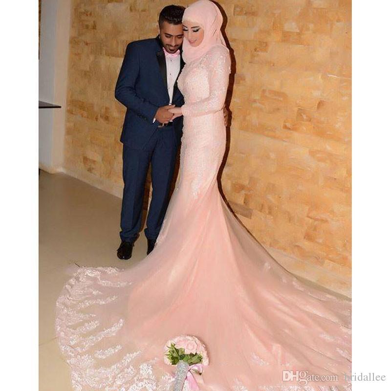 Мусульманское вечернее платье с высоким воротником и длинными рукавами Русалка Хвостовые платья Кружева Розовые вечерние платья халат де вечер