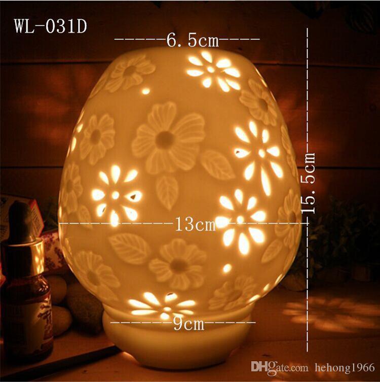 Céramique Brûleur d'encens électrique Hollow Out Design Aroma Lumière Rose Rose Feuille ronde motif de parfum Lampes d'artisanat 20WY B r