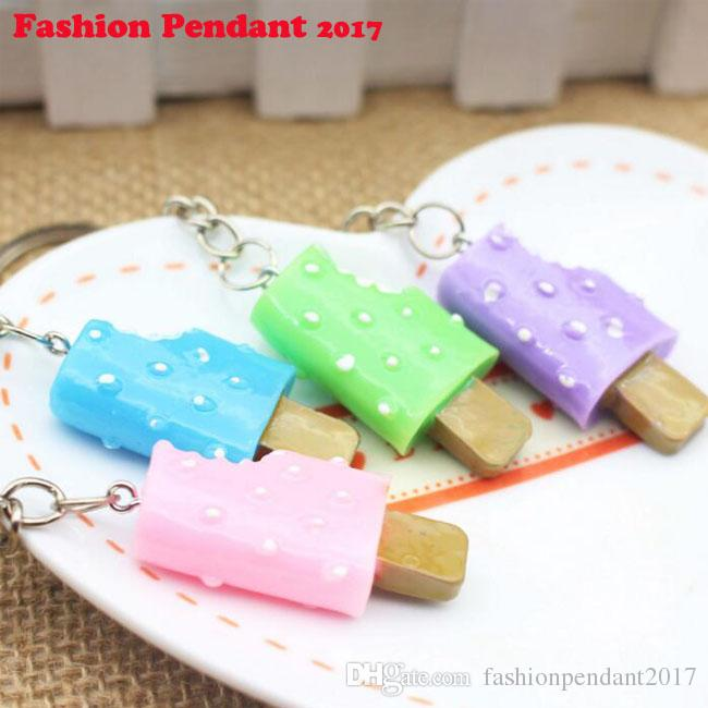 2017 NEW ARRIVAL Sweet Ice cream Key Rings Chains Pendant Ornament For bag car Keychain