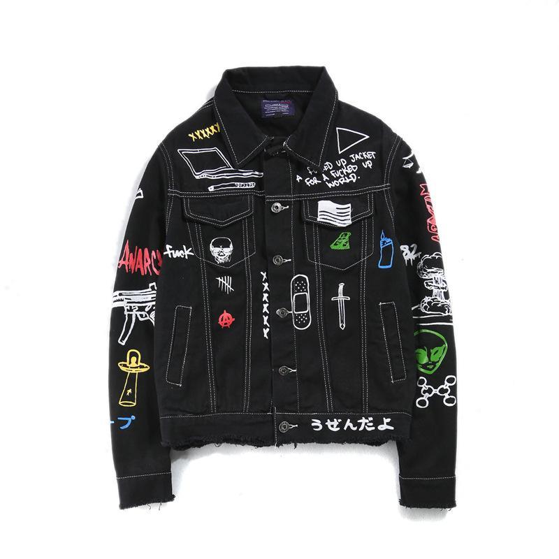 88fe1d5b7c6d4 New Jeans Jacket Men Streets DOODLE Denim Coat Male Motorbike Jean Coat  Jackets Asian Size Jean Jacket With Fur Bomber Jacket Leather From Hlq1025