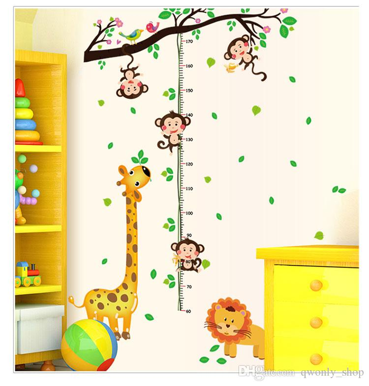 17 styles New Removable PVC Cartoon Wall Decals Growth Chart Height Measure Chart Home Decor Sticker Mordern art Mural for Kids Baby Room
