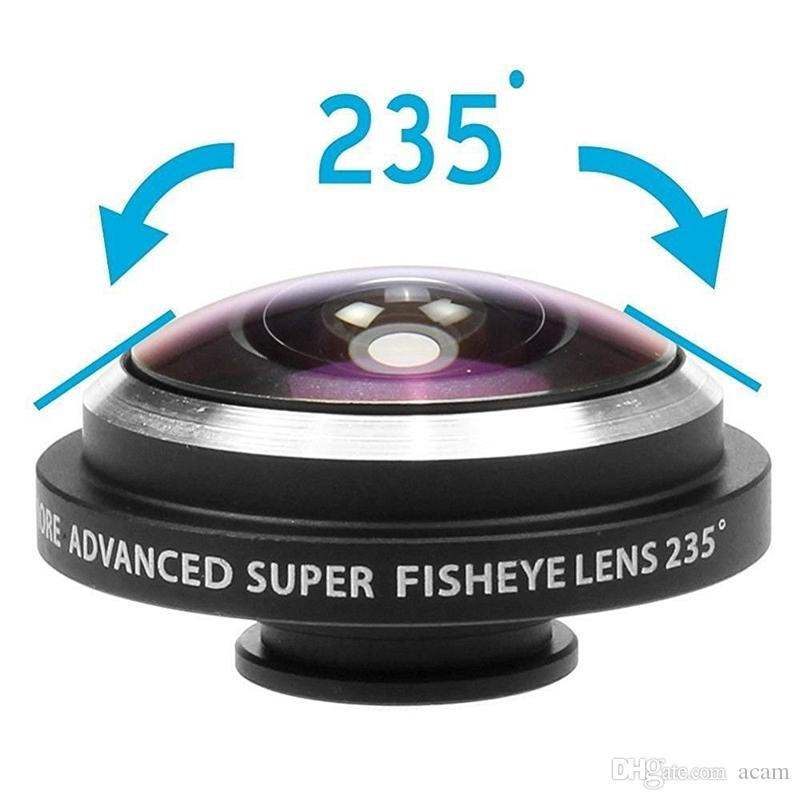 Super 235° Clip On Fish Eye Camera Wide Angle Lens Kits High Quality Universal Selfie Lens For Samsung Iphone