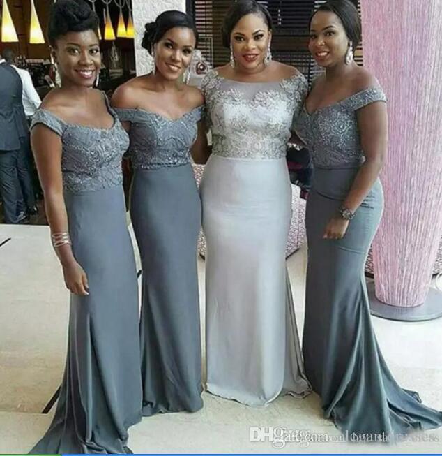 Ucuz Omuz Gri Gri Gelinlik Modelleri 2021 Artı Boyutu Afrika Sekretçi Hizmetçi Onur Abiye Örgün Düğün Konuk Elbise Kısa Kollu