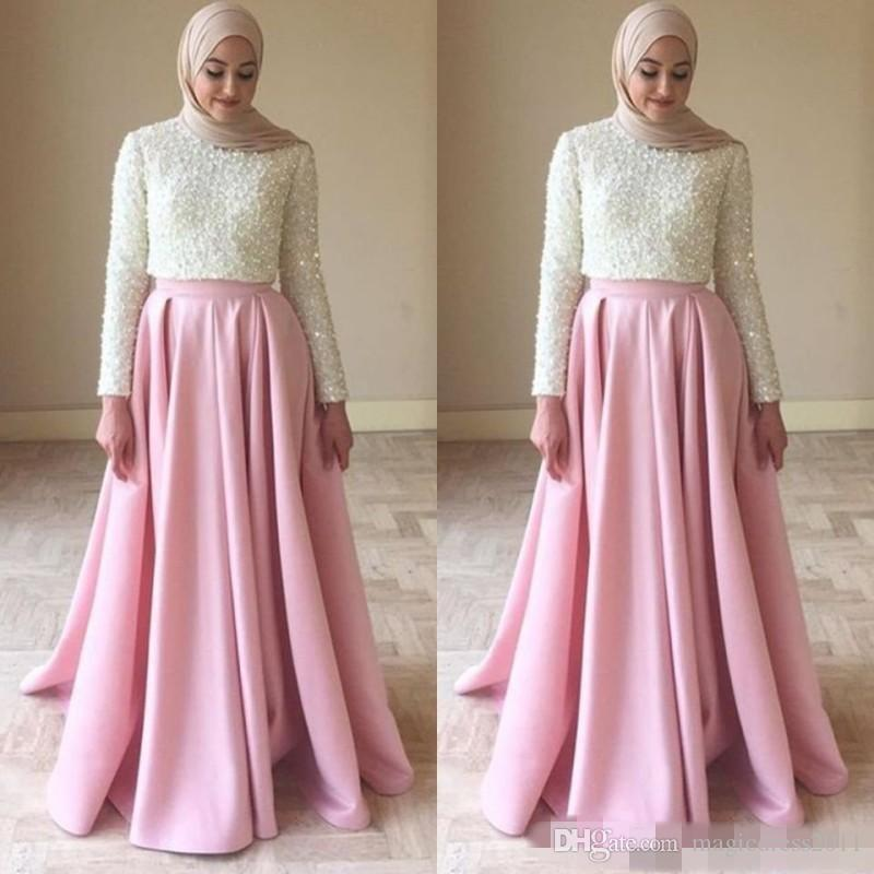 Arabic Evening Dresses for Women Jewel Neck Long Sleeve Heavy Beaded Bodice A Line Ivory and Pink Satin Muslim Prom Party Gowns