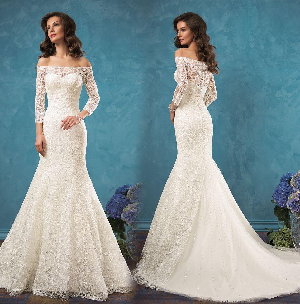 Discount 2017 Robe De Mariage Simple White Elegant Lace Long Wedding ...