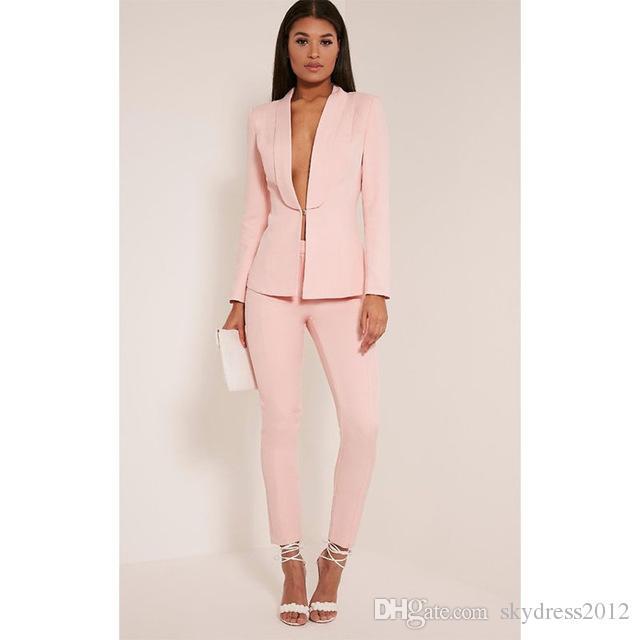 b6fb3609c Compre Nueva Luz Rosa 2017 Moda Para Mujer Trajes De Negocios Damas Elegantes  Trajes Formales Para Bodas Trajes De Pantalón Femenino Personalizados A   75.94 ...