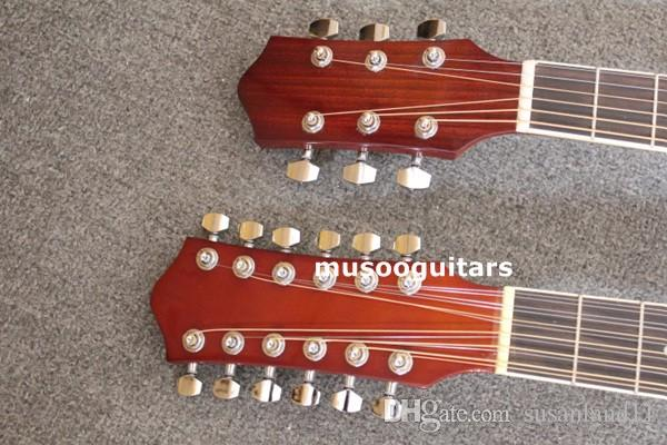 6/12 String Acoustic Electric Double Neck Guitar, Two Hole,with EQ and Bag