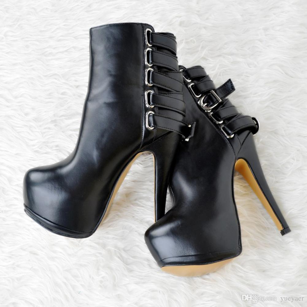 Zandina Bayan Moda El Yapımı 14.5 cm Yuvarlak Toe Toka Askı İnce Yüksek Topuk Ayak Bileği Çizmeler Seksi Ayakkabı Siyah XD029