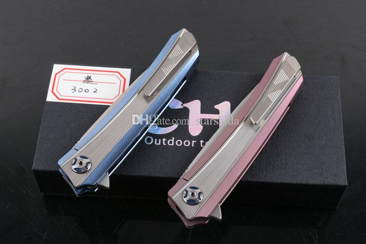 TOP CH3003 CH 3002 Titanium Tactical Folding Knife TC4 S35VN Ceramic Ball Bearing Clip Camping Hunting Survival Pocket Knife Collection EDC