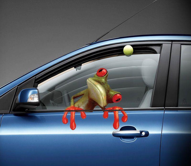 2017 لطيف 3d زقزقة الضفدع مضحك ملصقات السيارات شاحنة نافذة الفينيل صائق الرسومات ملصق شحن مجاني