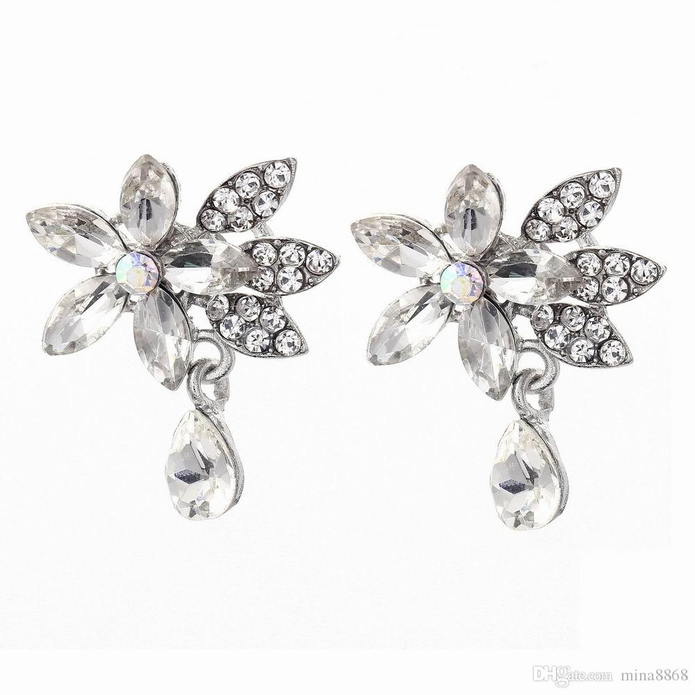 Women Brooches Bouquet 1pair Full Rhinestones Crystal Flower Brooches Fashion Jewelry Broches Pins for Women Dress Accessories Wedding Bijou