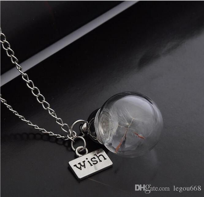 Glasflasche Halskette Natur Löwenzahnsamen in Glas lange Halskette machen einen Wunsch Glasperlen Kugel versilbert Halskette Schmuck G125