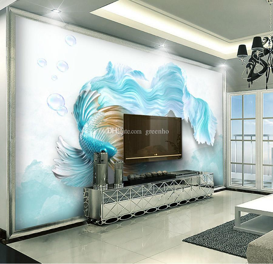 Luxury 3D Blue fish Wallpaper TV backdrop wall mural Cartoon Photo Wallpaper Cute animals HD picture Home decor wall Art Kid Boys Bedroom