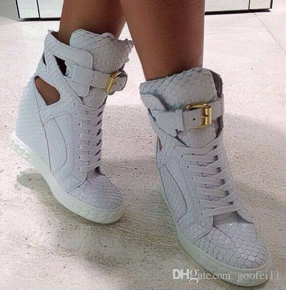Pink Black White Women Wedge Crocodile Leather Ankle Boots Height Increasing Lady Platform Casual Shoes Mixed Color Lace Up