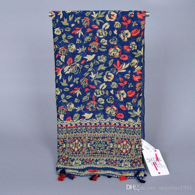 좋은 여자 숙녀 인쇄 꽃 tassels 패션 pashmina viscose shawls 이슬람 머리띠 면화 긴 hijab 스카프 / 스카프