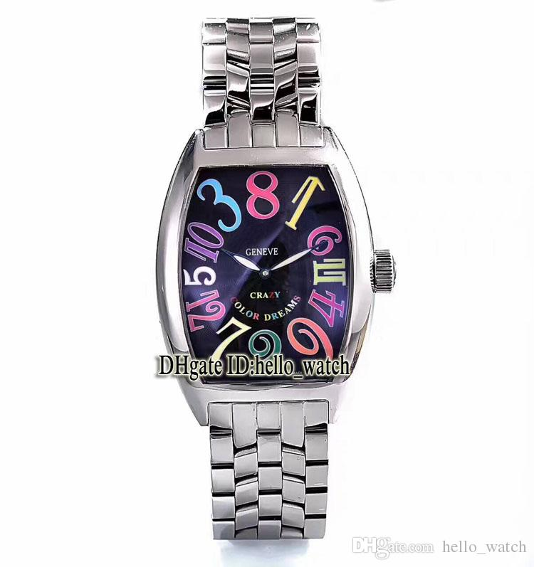 Cheap New CRAZY HOURS Color Figures 8880 CH Black Dial Automatic Mens Watch Stainless steel Bracelet High Quality New watches