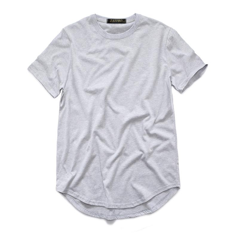 Herren T-Shirt Mode Extended Street-Stilett-shirt Herrenkleidung gebogener Saum langer Linie Tops T-Shirts Hip Hop Urban Leere Basic T-Shirts TX135