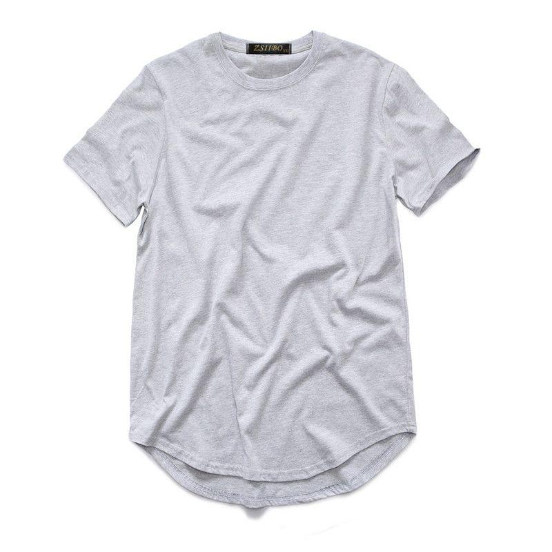 Homens camiseta t camisa estendida street estilete camisa masculina roupas masculinas curvo bainha linha longa tops tees hip hop urbano em branco básico tx135