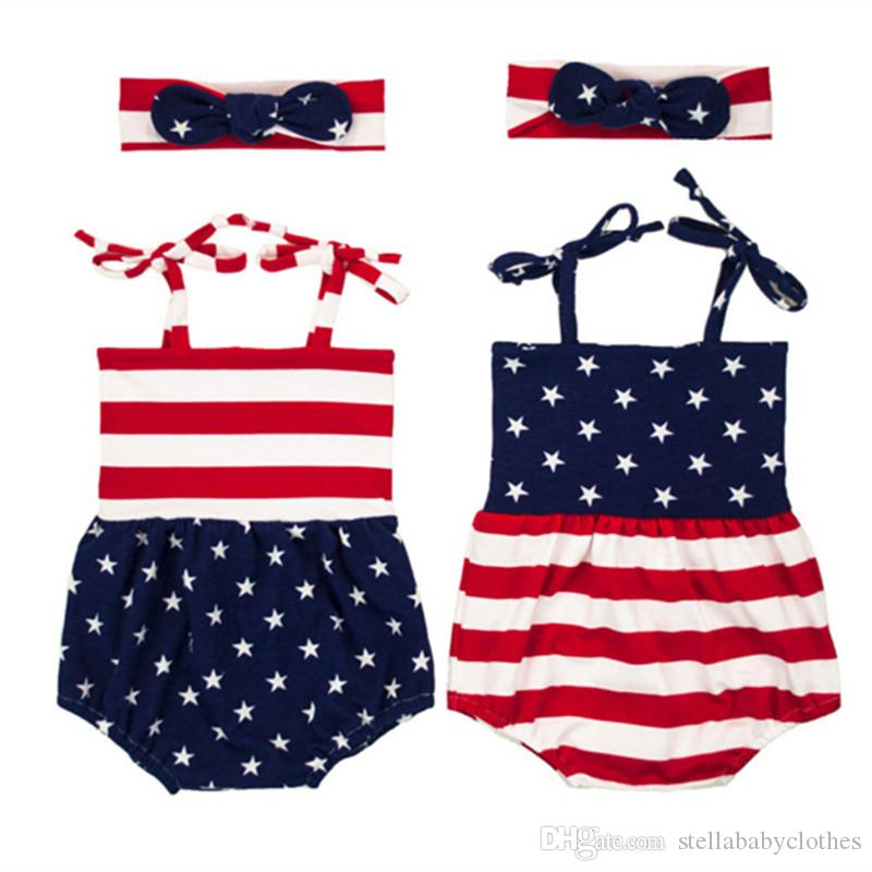 61bcd85e0e78 2019 4th Of July Baby Clothes Summer Girls Cotton Bodysuit Toddler Outfit  Fashion Striped Ameican Baby Girls Bodysuit Headband Set From  Stellababyclothes