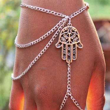 Hamsa Hand Harness Bangle Slave Chain Fashion Silver Chain Hand Bracelets Finger Ring Bracelets Womens Jewelry