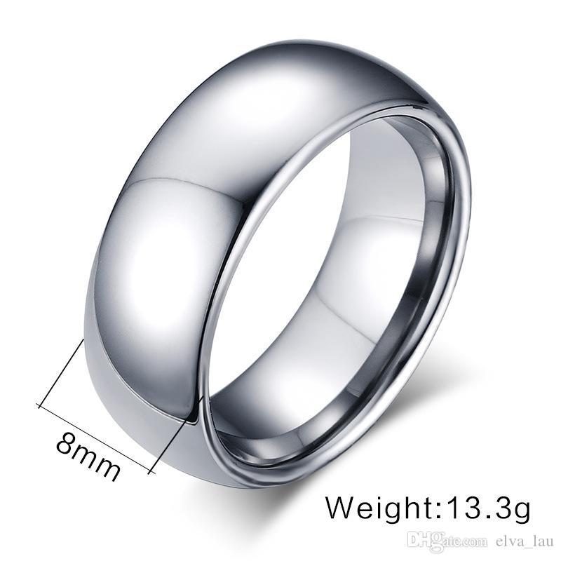 Großhandel neuen Entwurfs-Mens Fashion Tungsten Ring auf Hochglanz poliert 8mm breit Einfache glänzende silberne Hochzeit Bänder Mens Ringe US-Größe 5-13