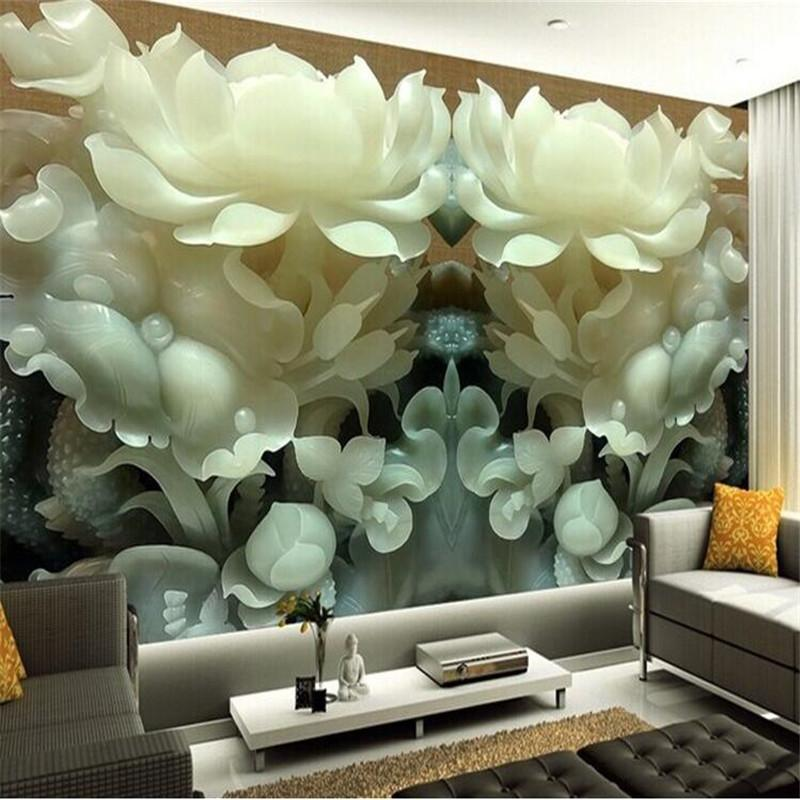 wholesale custom 3d mural wallpaper chinese jade lotus 3dwholesale custom 3d mural wallpaper chinese jade lotus 3d stereoscopic tv background wallpaper the living room bedroom 3d photo wallpaper wallpapers hq