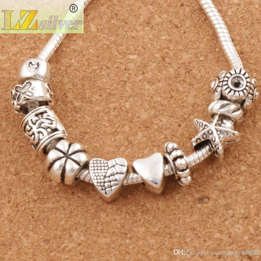 Nice Design Heart Big Hole Spacer Beads Tibetan Silver Fit Charm Bracelet Jewelry DIY Metals Loose Beads LM37