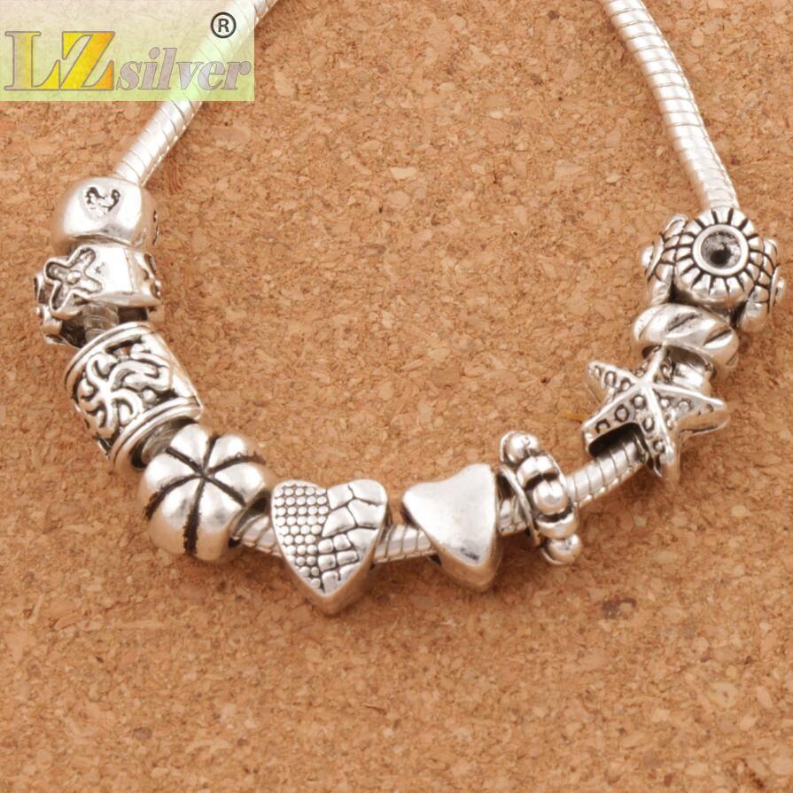 Trevligt design hjärta stort hål spacer pärlor / mycket tibetansk silver passform charm armband smycken diy metaller lösa pärlor lm37