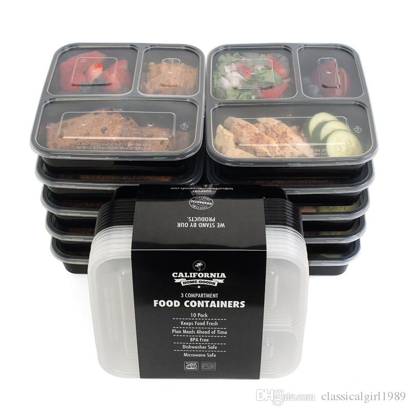 Best 3 Compartment Reusable Plastic Food Storage Containers With
