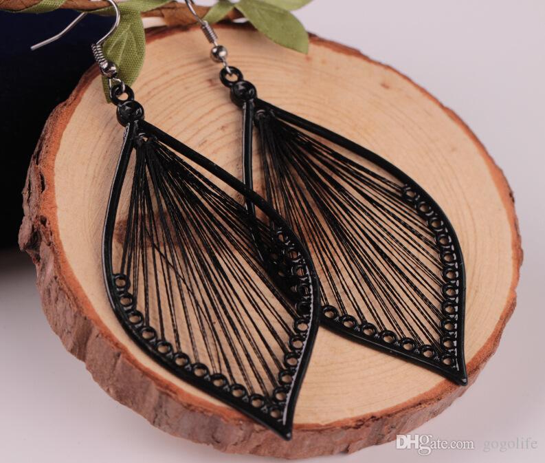 Schönes elegantes Handcraft Faden-Blatt baumeln Tropfen-Haken-Ohrring-Schmucksachen für Freundingeburtstagsgeschenk freies Verschiffen