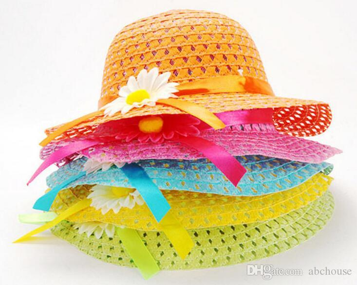 1-6 Years children Lovely Sunflower Flower Children sunhat Kids Girl Casual Beach Sun Straw Hat Cap + Straw Tote Handbag Bag Set free shippi