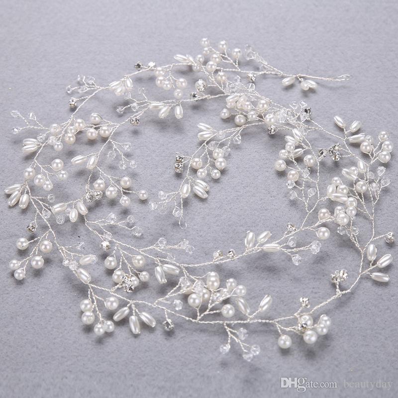 Boda Nupcial Dama de honor Plata Hecha a mano Diamantes de imitación Perla Diadema Diadema Accesorios para el cabello de lujo Tocados Fascinadores Tiara Oro