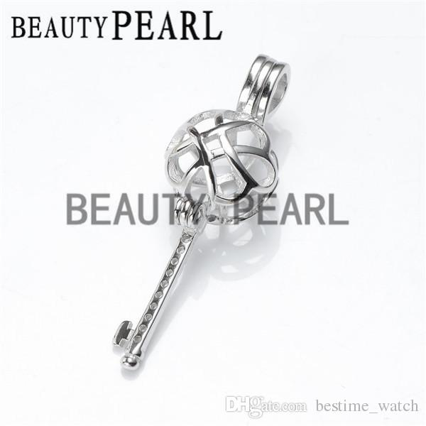 HOPEARL Jewelry Locket Knot Key Cage Love Wish Pearl 925 Sterling Silver Key Cage Pendant