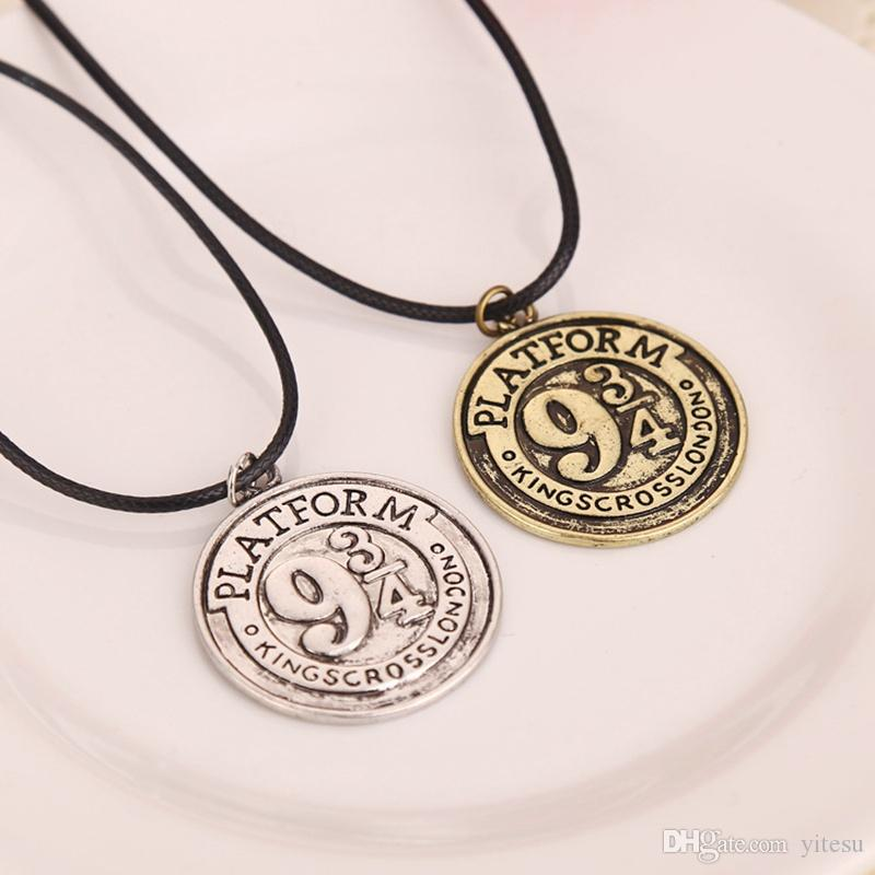 Wholesale Aolly 2 Color Harry 934 Coin Necklace Jewelry Antique Silver Bronze Round Rope Chain Engraved Charm Pendant Necklaces