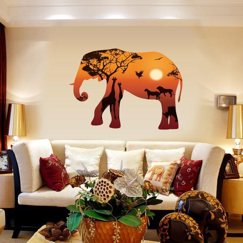 3d elephant wall stickers home decor adesivo de parede pvc