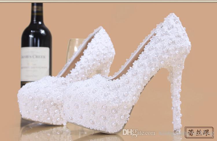 0b2cbe0f690c Lace Bridal Pumps Wedding Shoes Elegent Bling Pearl Platform Courtshoes Hot  Party Club Accessories Bridesmaid Dress Ups Flatshoes Low Heel Indian  Wedding ...