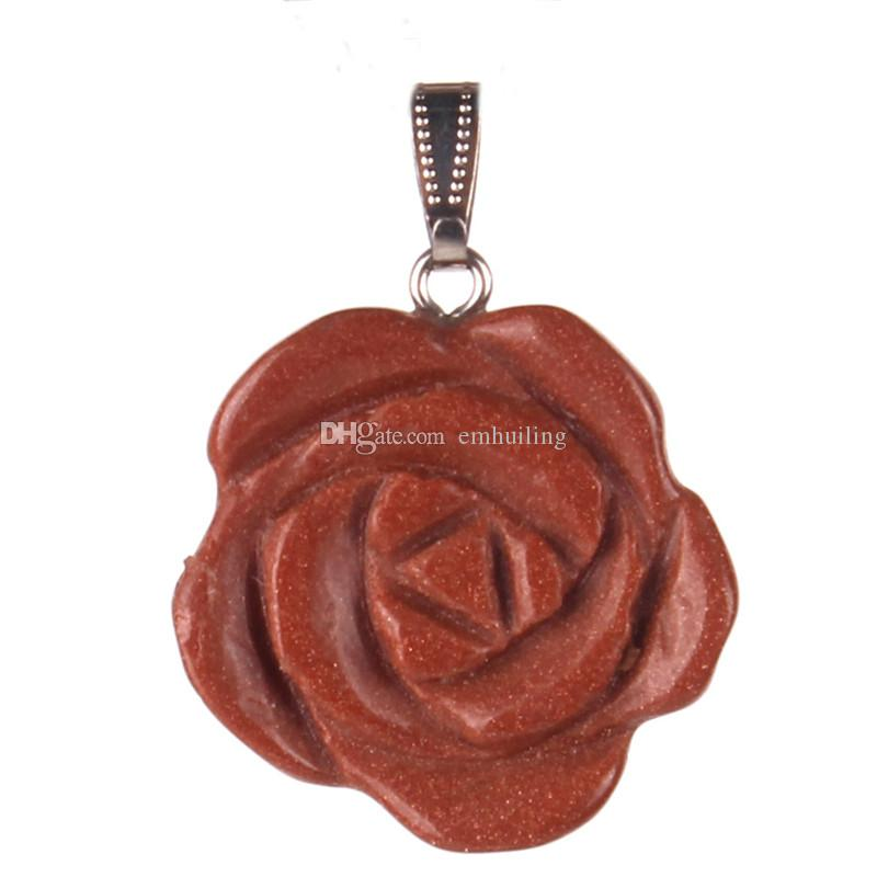Chakra Natural Stones Quartz Agate Beads Reiki Healing Flare Rose Flower of Life Ambition & Success Charms Pendant for Yoga Jewellery Amulet