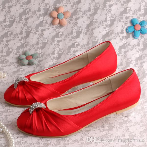 Merveilleux Custom Handmade Dressy Flat Shoes For Women Wedding Red Satin Plus Size  Sports Shoes Womens Shoes From Magicbride, $29.4| Dhgate.Com