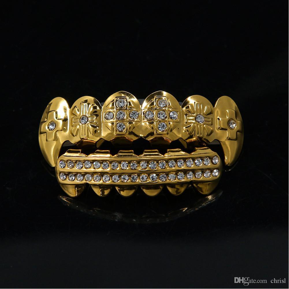 2017 Hip Hop Gold Teeth Exaggerated Inlay Teeth Diamond Teeth Set