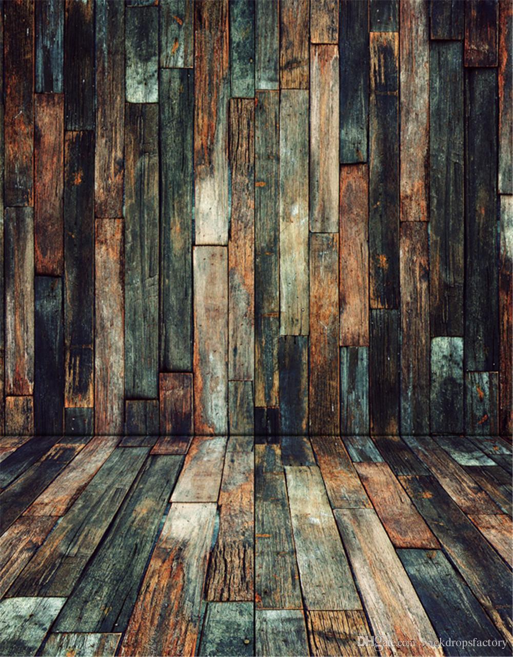 Vintage Dark Wooden Planks Wall Floor Photography Backdrop Digital