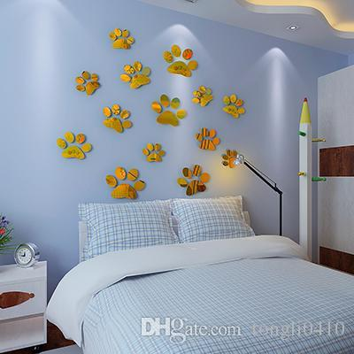 3d Mirror Acrylic Dog Paws Three Dimensional Wall Stickers 3d ...