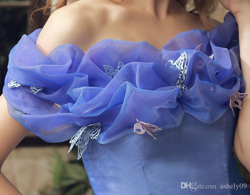 Cinderella Blue Brautkleider Cosplay Mädchen Party Kleider Ballkleid Organza Romantische Brautkleider Auf Lager Schnelle Lieferung